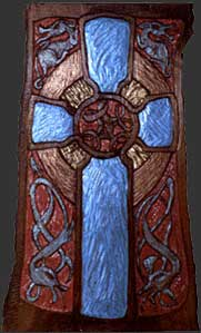 Celtic Cross - Polychromed Wood Fine Art Sculpture by E. Thor Carlson