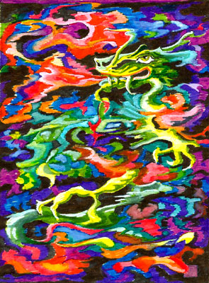 Flaming Dragon Fine Art Tapestry Design by E. Thor Carlson