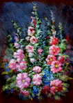 Hollyhocks Saint Gaudens Series Fine Art Floral Arrangement by E. Thor Carlson