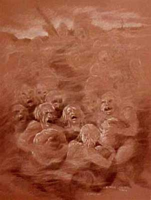 The Misers Carry Their Gold Round and Round - Dante's Inferno Art by E. Thor Carlson